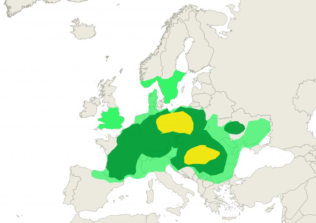 Predicted hazel pollen levels in Europe 24 Feb 2020
