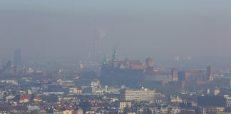 Smog over Krakow, Poland